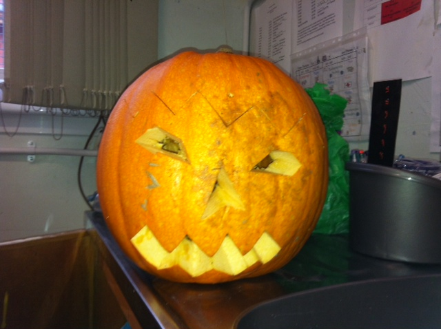 P6/5 carved a scary face into their pumpkin
